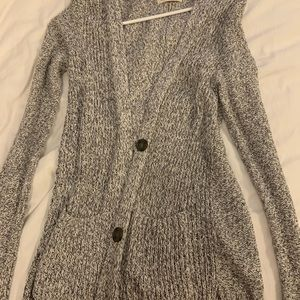 grey and white cardigan, could be buttoned